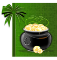 Magic pot with gold coins vector image