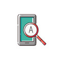 mobile phone screen with magnifier and letter icon vector image vector image