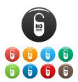 no entry paper door hanger icons set color vector image vector image
