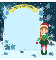 Notes Christmas Elf Braid Girl vector image