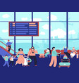 people in airport terminal family journey vector image vector image