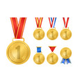 realistic detailed 3d champion gold medals set vector image