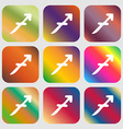 Sagittarius sign icon Nine buttons with bright vector image