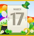 saint patricks day calendar vector image vector image