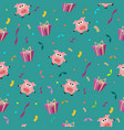 seamless birthday romantic pattern with pig vector image vector image