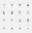 seo icons line style set with top keywords global vector image vector image