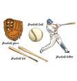 set baseball in color isolated on white vector image