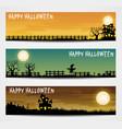 set of three halloween banners vector image vector image