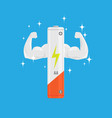 single white and very strong muscle full power aa vector image vector image