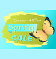 spring sale poster discount -45 colorful butterfly vector image