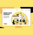 startup landing page tech team launching rocket vector image
