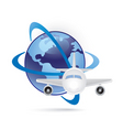 world and plane icon vector image vector image