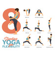 8 standing yoga poses for yoga at home in concept vector image vector image