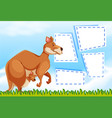 a kangaroo on note template vector image vector image