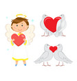 angel boy with wings and halo holding red heart vector image vector image