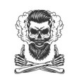 bearded and mustached hipster skull vector image vector image