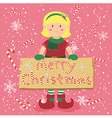 Board Candy Cane Christmas Elf Blonde Girl vector image vector image