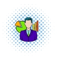 Businessman and graphs behind him icon vector image vector image