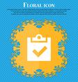Check mark tik Floral flat design on a blue vector image vector image
