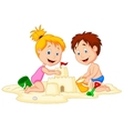 Children cartoon making sand castle vector image vector image