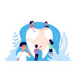 children teeth care kids brushing tooth little vector image