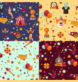 circus themed bright seamless patterns set vector image