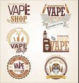 collection vape shop labels retro vintage vector image vector image