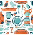 crockery seamless pattern home watercolor kitchen vector image