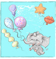 cute elephant with balloon hand drawn vector image vector image