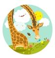 Cute giraffe smelling a flower vector image vector image