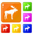 deer icons set color vector image vector image