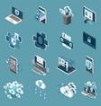 digital protection icon set vector image