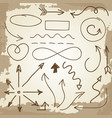 doodle arrows and symbols on vintage grunge vector image vector image
