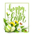 Easter greeting Lettering Flower Egg vector image vector image