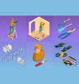 electrical services isometric concept worker vector image vector image