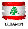 flag of lebanon from brush strokes vector image vector image