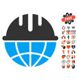 global safety helmet icon with valentine bonus vector image vector image