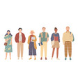 group students young people in casual clothes vector image
