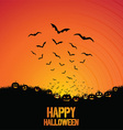Halloween background with bats and pumpkins vector image vector image