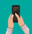 hand holds smartphone with music player vector image