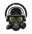 helmet and gas mask radiation protection vector image