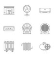 house heater icon set outline style vector image vector image