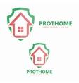 house on shield logo vector image
