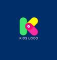 k monogram kids emblem logo vector image vector image