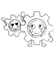 kawaii gears motion and mechanics cartoon vector image