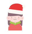 merry christmas girl with hat and sweater icon vector image