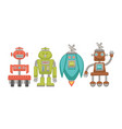 metal robots with powerful satellite and on wheels vector image vector image