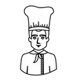monochrome contour half body of male chef vector image