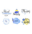 natural health care lables set beauty and healthy vector image vector image