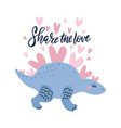 romantic lovely dinosaur vector image vector image
